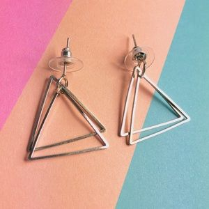 New! Layered Triangles Geometric Earrings Silver